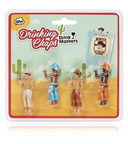 npw-usa Agua Potable Buddies en Vino Jesús cóctel Bebida Marcadores (Juego de 4), Cowboy Chaps, 1