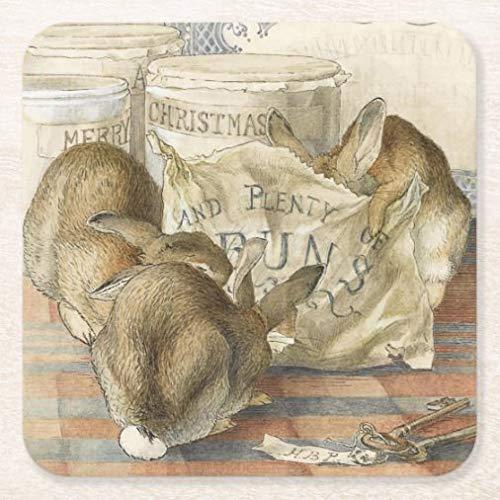 Posavasos para bebidas con base de corcho, familia Reunion Navidad conejos cuadrados de cerámica juego de 4 posavasos para el hogar y la cocina, divertido regalo para el hogar, regalos de Navidad