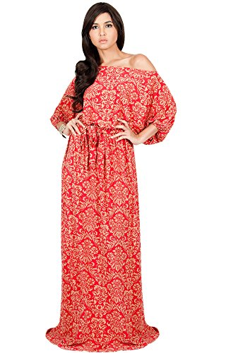 KOH KOH Plus Size Women Long Sexy One Off Shoulder Flowy Summer Bohemian Boho Print Floral Casual Short 3/4 Sleeve Gown Gowns Maxi Dress Dresses, Red and Beige 3X 22-24