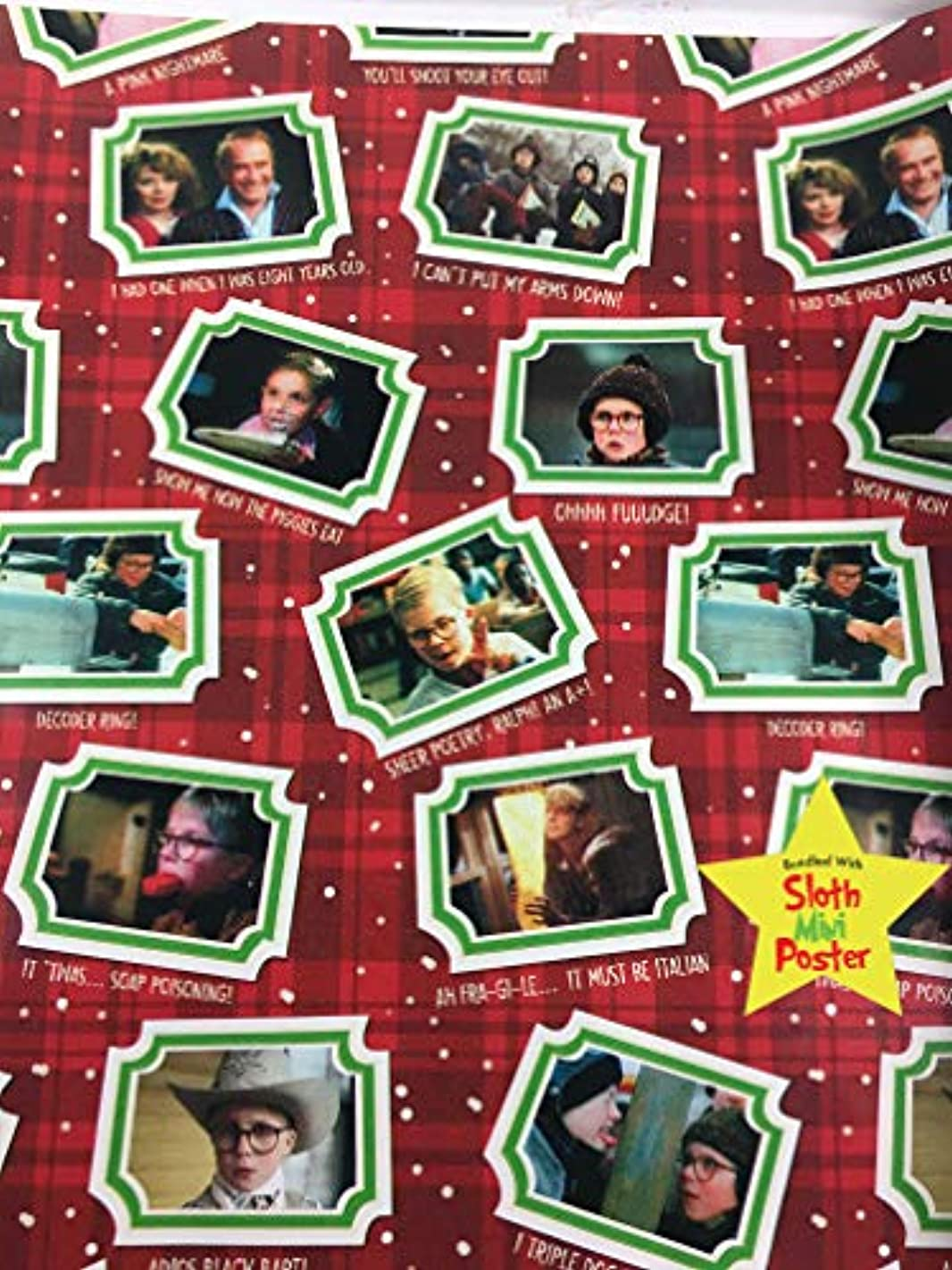 Christmas Story Movie Gift Wrapping Paper -40 Square Feet 1 Roll