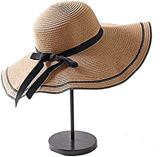 Hat Straw hat Women's Wide Brim Straw Hat Floppy Foldable Roll Up Hat Beach Sun Hat Summer UPF 50+ Sun hat Panama hat (Color : White, Size : One Size) (Color : Brown, Size : One Size)