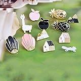 12 unids/set alfileres de solapa de estilo rural de pueblo negro blanco concha de alpaca zorro pin broches de pino insignias joyería de dibujos animados