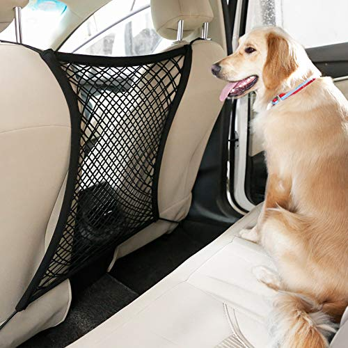 rabbitgoo Dog Car Net Barrier,13.98' × 15.55', Metal Hooks & Stretchable Mesh Obstacle, Back Seat Net Organizer, Design for Pet Disturb Stopper & Storage Pouch, Drive Safely with Children & Pets