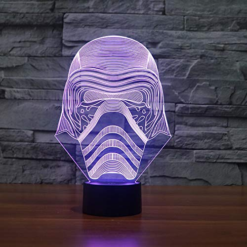 (Nur 1) Star Wars weiße Ritter 3D Visual Illusion Lampe Transparent Acryl Nachtlicht LED Fee Farbwechsel USB Led Light Lampe