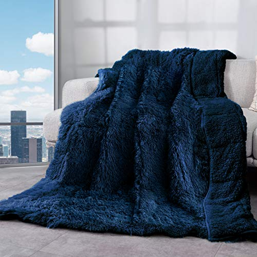 Weighted Blanket 15lbs, Cottonblue Thick Fuzzy Bed Blanket with Soft Plush Flannel Faux Fur Blanket 48x72 inches,Plush Throw Heavy Blanket with Luxury Fur,60 x 80 inches Queen Size, Navy Blue