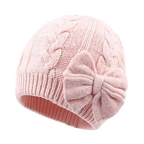 Spasuely Baby-Mütze, Winter, Kinder, Mädchen, Mütze mit weichem Futter, Bogenkabel, Strick, Baby, Infantile Ohren, Mütze Gr. M , Rosa