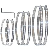 Duct Clamps Hose Clamp Worm Gear Hose Clamp Fuel Line Clamp 6in 8in 10in Adjustable Air Stainless Steel 141-254mm Range for Plumbing 6 Pcs with Z Wrench