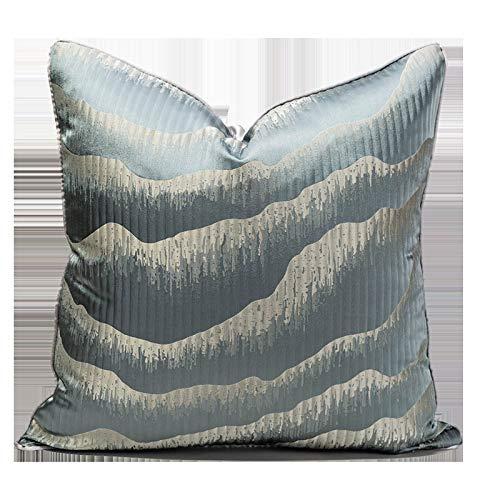 QMZ Fundas de Cojines Estilo de Lujo Ligero de Alta precisión Hidden Mountain Mint Blue Mountain Gran Funda de Almohada Cintura Funda de Almohada sofá Funda de Almohada Decorativa 50cm
