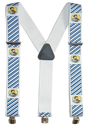 A. Blöchel Extrem breite & Elastische Hosenträger mit 3 Metall Clips Y Form in verschiedenen Farben (Bayern/König-Ludwig-II)