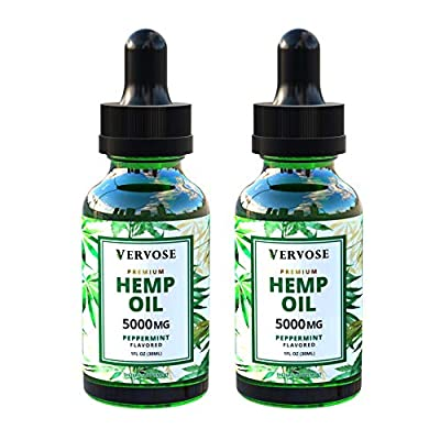 Vervose | Organic Hemp Oil 5000mg (2 Pack) | Anxiety Relief, Sleep Aid, Inflammation and Weight Loss | All Natural | Vegan | Made in The USA (5000mg) from Vervose