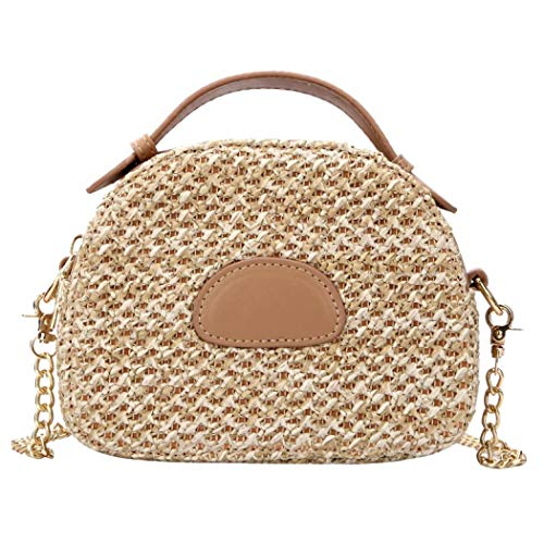 Puedo Exquisite Handmade Straw Bag Women Rattan Woven Shoulder Handbag Summer Beach Crossbody Bag, Khaki, One Size
