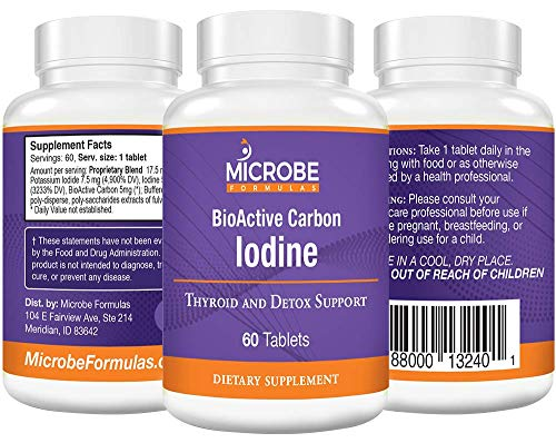 Microbe Formulas: BioActive Carbon Iodine - Thyroid Support - 60 Tablets - Provide Proper Iodine Balance - Promotes Increased Energy - Support Natural Hormonal Production