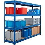 Robusto scaffale per carichi pesanti | blu | Capacità di carico fino a 600 kg per ripiano | 177 x 160 x 60 cm | Scaffalatura seminterrata Scaffalatura in acciaio