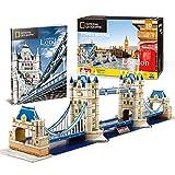CubicFun Puzzle 3D Londres Tower Bridge, con National Geographic Folleto de Fotografía, 120 Piezas
