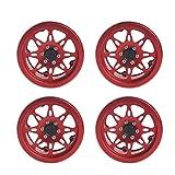 Toyvian RC Wheel Rim Metallo Accessori in Alluminio per 1:10 RC Crawler Car 4PCS (Rosso)...