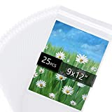 Acid Free 1.496mil (Single Side) Crystal Sealed Clear Bags for 9x12 Art Prints, Photos, 9 3/8 Inches by 12 2/5 Inches, 25-Pack
