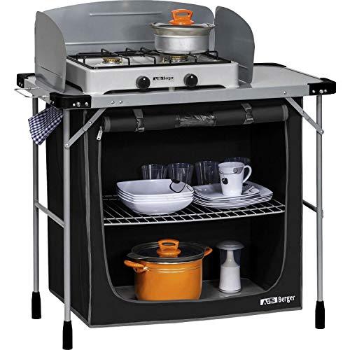 Berger Küchenbox Campingküche Stahl, schwarz, 2 Staufächer, Füße sind höhenverstellbar, mit Windschutz und Tragetasche