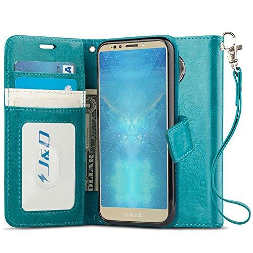 J&D Case Compatible for Moto E5 Plus Case, Moto E5 Supra Case, WalletStand Slim Fit Heavy Duty Protective Shockproof Flip Wallet Case for Motorola E5 Plus, Not for Moto E5/E5 Play
