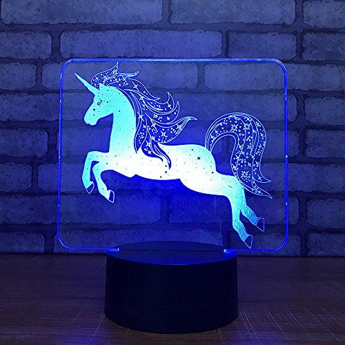 EUpMB Diapositiva Visual 3D, Con cambio de 7colorescoloreslámpara escritorio táctil,Recargable USB, Decorativa para Dormitorio Salón,Y regalo de cumpleaños-Luz nocturna de unicornio