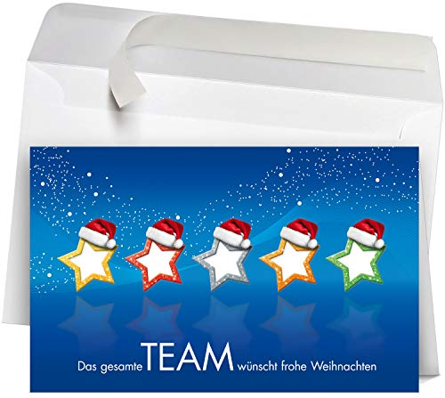 50 Premium Weihnachtskarten incl. Umschläge, Motiv: Team, Set: hochwertige Klappkarten (Querformat 19x12 cm groß) moderne Weihnachtspostkarten für Firmen, Kunden und Lieferanten