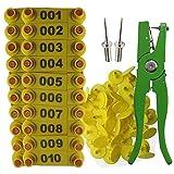 Basage Alicates para Etiquetas de Oreja Aplicador de Marcador de Oveja Etiqueta de Oreja 001-100 Etiquetas de Oreja para Kit de IdentificacióN de Cabra Etiqueta de Oreja - Amarillo