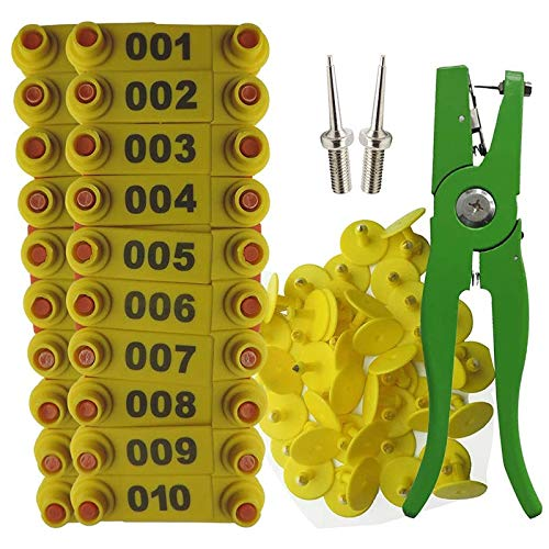 SNOWINSPRING Alicates para Etiquetas de Oreja Aplicador de Marcador de Oveja Etiqueta de Oreja 001-100 Etiquetas de Oreja para Kit de IdentificacióN de Cabra Etiqueta de Oreja - Amarillo