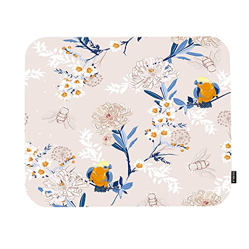 EKOBLA Floral Mouse Pad Animal Bird Bee Bumblebees Chrysanthemum Wildflowers Branches Nature Gaming Mouse Mat Non-Slip Rubber Base Thick Mousepad for Laptop Computer PC 9.5x7.9 Inch