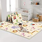 Baby Folding Crawling Mat, Kids Play Mat Soft Foam Rug Carpet, Reversible Double
