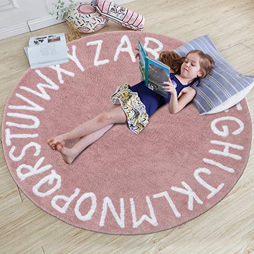 SHACOS Spielmatte Baby Teppich Kinderzimmer Kinderteppich Mädchen Rosa Spielteppich Kinder Babymatte rutschfeste Kinderteppiche Teppich Babyzimmer Rund Teppich Kinder 120 cm