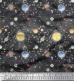 Soimoi Grau Baumwolle Batist Stoff Planet & Sonne Galaxis