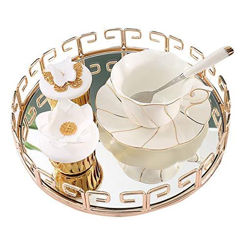 Ofgcfbvxd Bandeja Decorativa Sirviendo Snack-Cristal Bandeja Bandeja Restaurante Redondo de la decoración del Metal té café Bandeja del alimento para baño (Color : Gold, Size : 29x29x5cm)