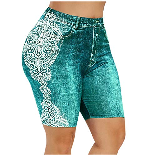 Letdown(TM) Women Yoga Pants with Pockets High Waisted Jean-Like Printed Elastic Waist Skinny Comfortable Seven-Cent Pants