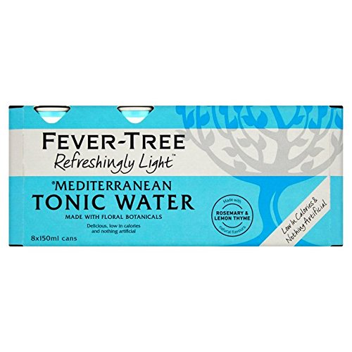Fever Tree Refreshingly Light Mediterranean Tonic Water, 8 x 150 ml (Pack of 3, Total 24 Cans)