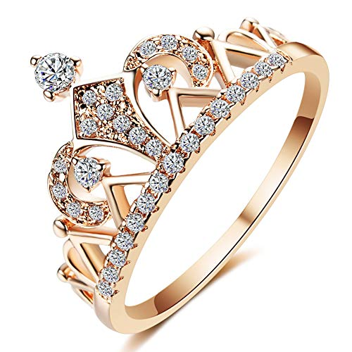 QJLE Princess Crown Tiara Cubic Zirconia Engagement Rings for Women,18K Rose Gold Plated Tiny CZ Promise Girl Rings Wedding Bands (Rose Gold, 6.5)