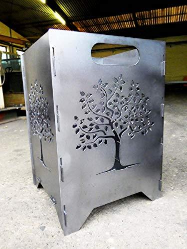 Irony24 Feuertonne - Feuerkorb - Feuerstelle - Feuerschale gesteckt 35x35x50cm Version Lebensbaum