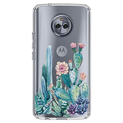 luolnh Compatible with Moto X4 Case,Moto X4 Case Case with Flower,Slim Shockproof Clear Floral Pattern Soft Flexible TPU Back Cover for Motorola Moto X4 (Cactus)