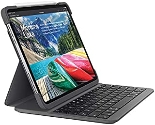 Logitech 罗技 适用于iPad Pro 11英寸SLIM FOLIO PRO背光蓝牙键盘保护套(型号:A1980,A1934,A1979,A2013,英国英式布局),黑色