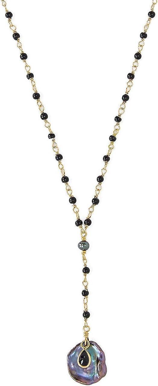 Chan Luu Black Mix Goldtone Y Style Necklace