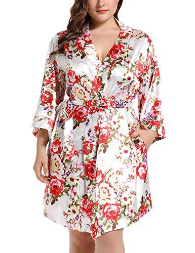 Damen Morgenmantel Kimono Satin Kurz Große Größen Nachtwäsche Bademantel Robe Schlafanzug Mit Blumen Weiß 5XL