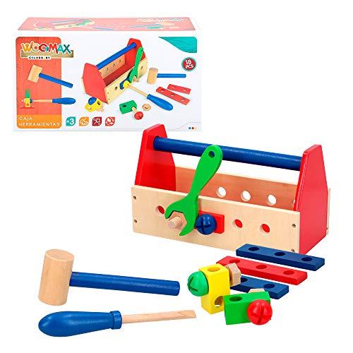 WOOMAX- Caja de herramientas de madera (Colorbaby 42751)