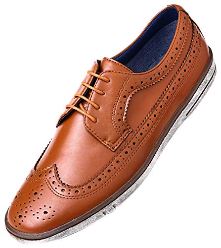Mio Marino Mens Casual Dress Shoes - Wingtip Brogue Business Fashion Oxford Shoes for Men - Wingtip Claviko Collection - Tan Cognac - 8 D(M) US