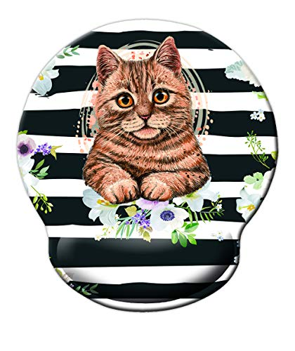 Ergonomic Mouse Pad with Wrist Support, Melyaxu Cute Wrist Pad with Non-Slip Rubber Base for Computer, Laptop, Home Office Gaming, Working, Easy Typing & Pain Relief Cat