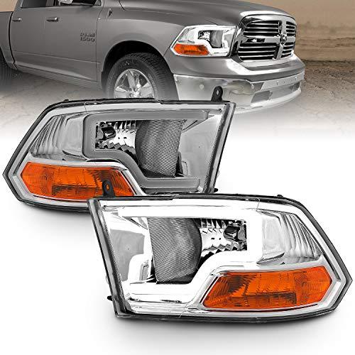 AmeriLite LED Plank Bar Chrome Replacement Headlights Assembly for Dodge Ram 1500 2500 3500 - Driver and Passenger Side Set