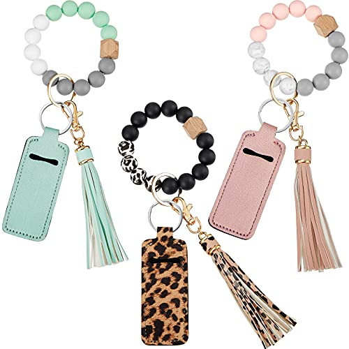 3 Sets Keychain Wristlet Bracelet Silicone Beaded Wristlet Keychains with Chapstick Holder Keychain Elastic Bangle Key Ring with PU Leather Tassel