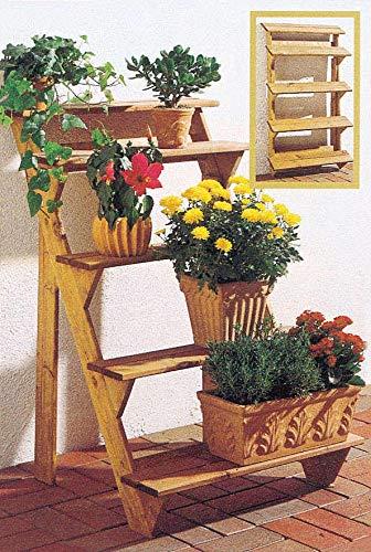 GASPO Blumentreppe Flora 3-stufig | 80 x 56 x 60 cm | aus massivem Holz, Blumenständer für Balkon und Garten