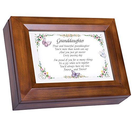 Cottage Garden Granddaughter Proud of You Woodgrain Digital Keepsake Music Box Plays My Wish