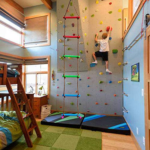 Rainbow Craft Climbing Rope Ladder for Kids - Kids Ninja Warrior Obstacle Course Accessories - Ninja Slackline Ladder, Playground Ninja Obstacle Swing Rope Ladder