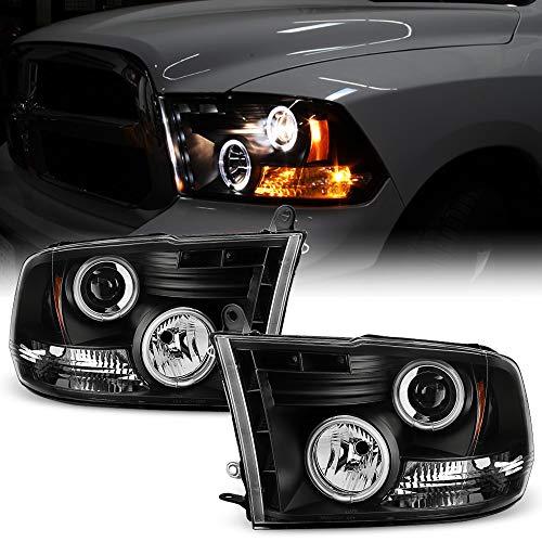 ACANII - For 2009-2018 Dodge Ram 1500 10-18 2500 3500 LED Halo Ring Black Housing Projector Headlight Headlamp Assembly