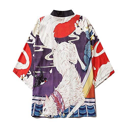 HENGX Mujer Japonés Kimono Chaqueta,Nuevo Kimono Moda Japonesa Bata Baño con Estampado Zorro Dibujos Animados Abrigo Suelto Interior para Hombres Y Mujeres,Blue-XL