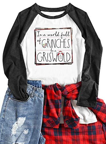 in a World Full of be a Griswold Funny T-Shirt Women Long Sleeve Raglan Tshirts Vintage Christmas Movie Baseball Tops (Medium, Black)